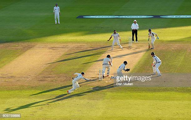 A general view as Dawid Malan of Middlesex bats during day three of the Specsavers County Championship Division One match between Middlesex and...