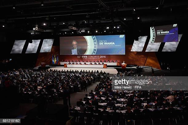 A general view as Decio de Maria the Preident of the Mexican Football Federation addresses the delegatesduring the 66th FIFA Congress at Centro...