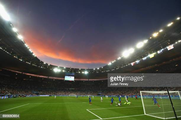 General view as Dele Alli of England is fouled for a penalty during the International Friendly match between France and England at Stade de France on...