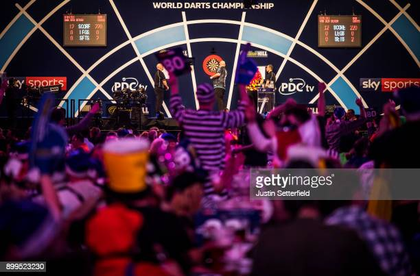A general view as Dimitri Van Den Bergh plays his Quarter Final Match against Rob Cross during the 2018 William Hill PDC World Darts Championships on...