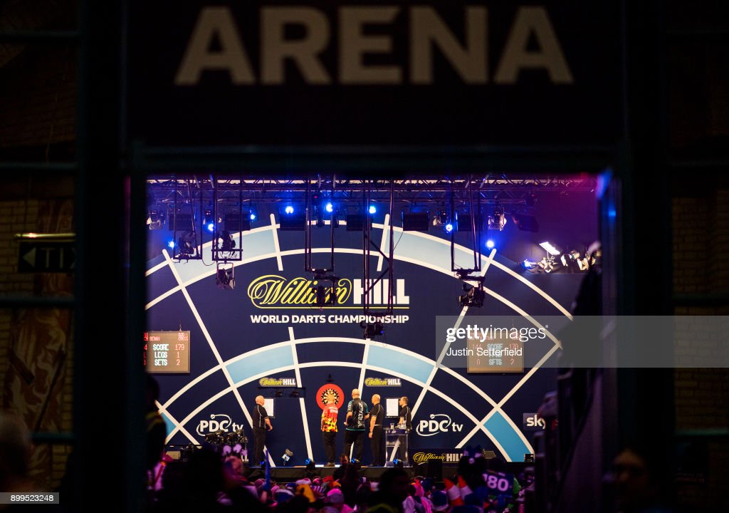 A general view as Dimitri Van Den Bergh plays his Quarter Final Match against Rob Cross during the 2018 William Hill PDC World Darts Championships on Day Thirteen at Alexandra Palace on December 29, 2017 in London, England.