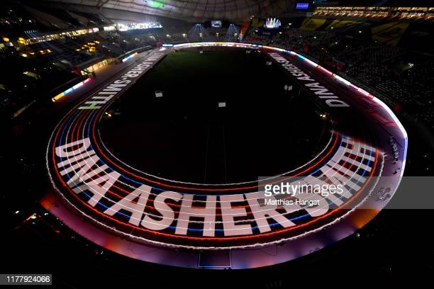 A general view as Dina AsherSmith of Great Britain is introduced for the Women's 100 Metres final during day three of 17th IAAF World Athletics...