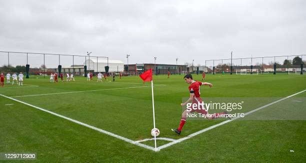 General view as Dominic Corness of Liverpool takes a corner at Melwood Training Ground on November 21, 2020 in Liverpool, England.