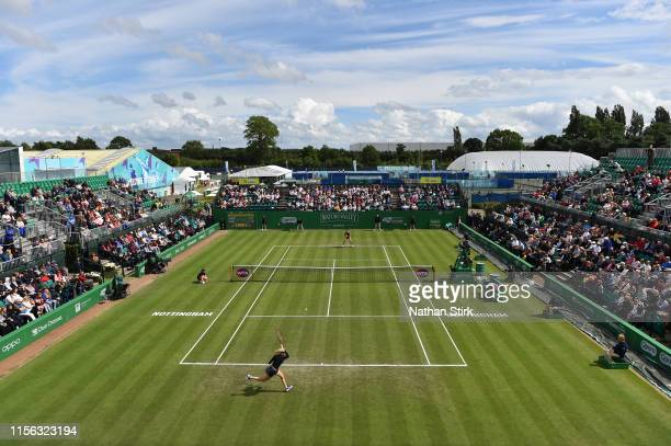 General view as Donna Vekic of Croatia plays against Caroline Garcia of France in the women's final match during day seven of the Nature Valley Open...