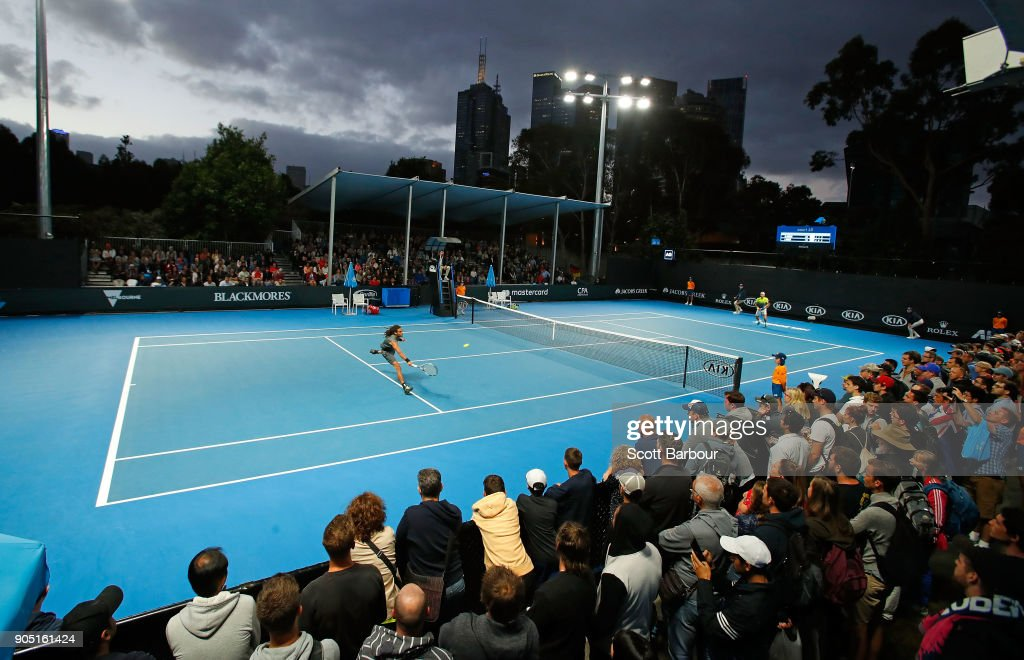 A general view as Dustin Brown of Germany plays a backhand in his first round match against Joao Sousa of Portugal on day one of the 2018 Australian Open at Melbourne Park on January 15, 2018 in Melbourne, Australia.