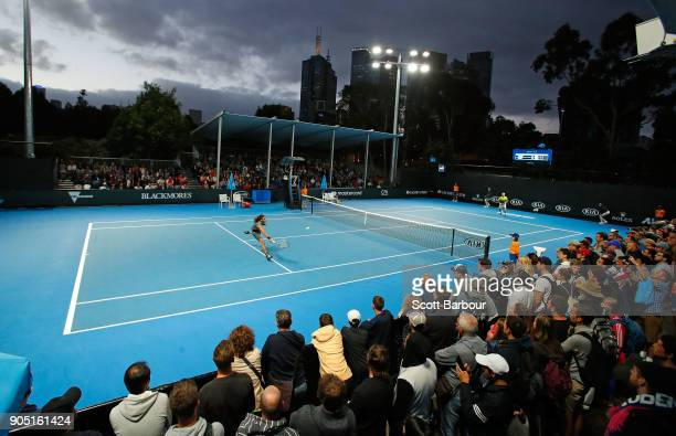 A general view as Dustin Brown of Germany plays a backhand in his first round match against Joao Sousa of Portugal on day one of the 2018 Australian...