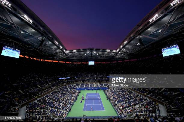 General view as Elina Svitolina of the Ukraine serves during her Women's Singles semi-final match against Serena Williams of the United States on day...