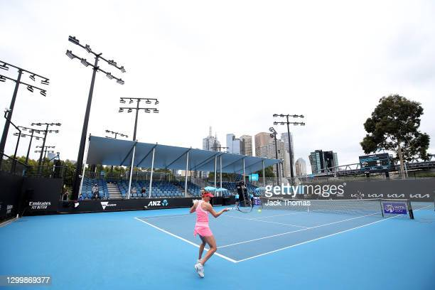 General view as Elise Mertens of Belgium plays a forehand in her Women's Singles Second Round Match against Mayo Hibi of Japan during day three of...