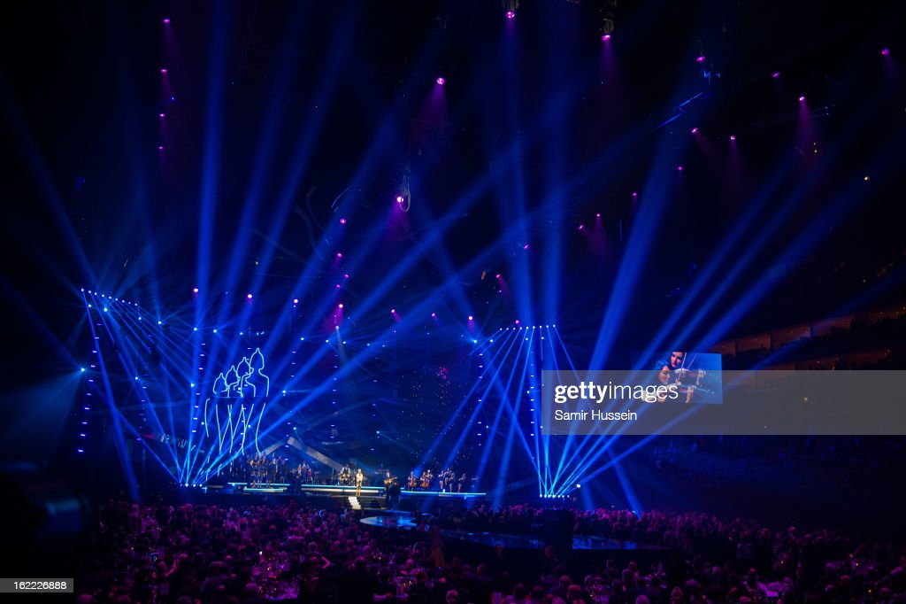 A general view as Emeli Sande performs live on stage during the Brit Awards 2013 at 02 Arena on February 20, 2013 in London, England.