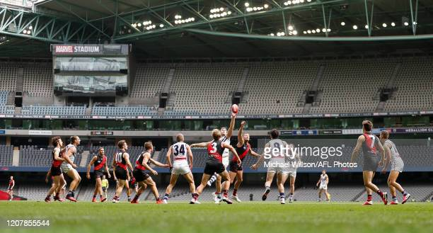 General view as empty seats are seen due to the coronavirus outbreak during the 2020 AFL Round 01 match between the Essendon Bombers and the...