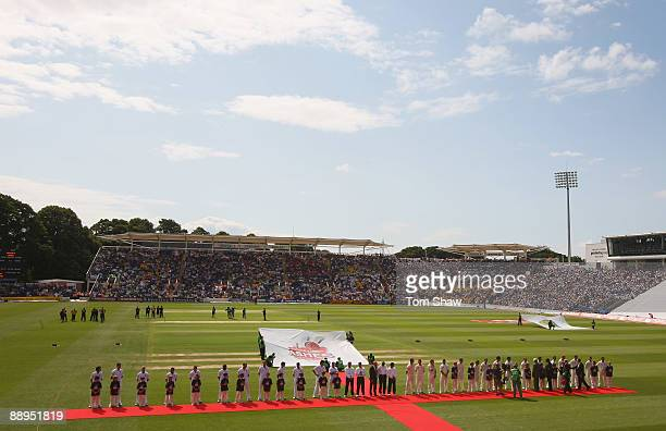 A general view as England and Australia line up for the national anthems during day one of the npower 1st Ashes Test Match between England and...