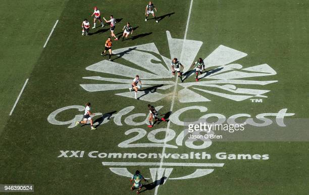 General view as England take on South Africa during Rugby Sevens on day 11 of the Gold Coast 2018 Commonwealth Games at Robina Stadium on April 15...