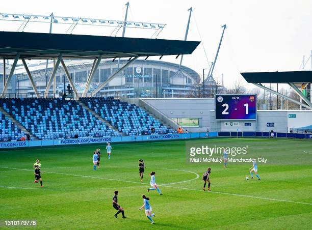 General view as Esme Morgan of Manchester City attacks during the Second Leg of the UEFA Women's Champions League Quarter Final match between...