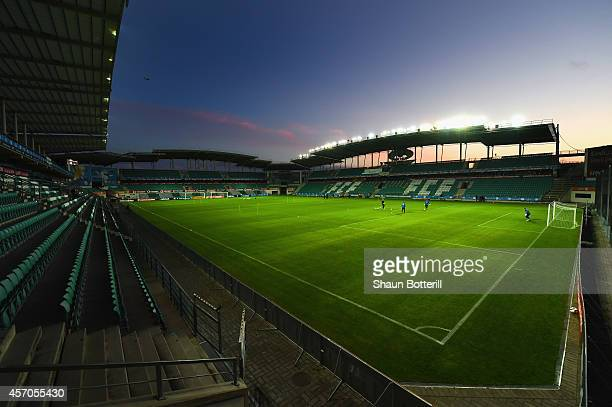 A general view as Estonia train at A Le Coq Arena on October 11 2014 in Tallinn Estonia