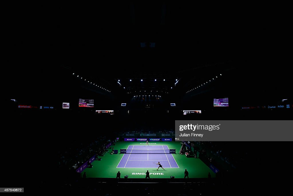 A general view as Eugenie Bouchard of Canada plays Simona Halep of Romania during day one of the BNP Paribas WTA Finals tennis at the Singapore Sports Hub on October 20, 2014 in Singapore.