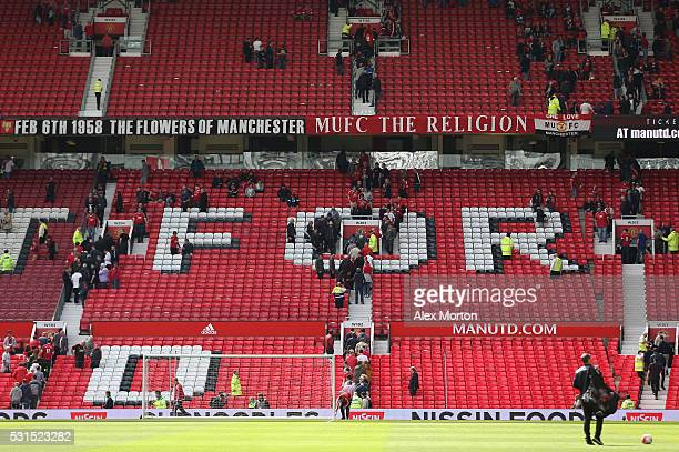 A general view as fans are evacuated from the ground prior to the Barclays Premier League match between Manchester United and AFC Bournemouth at Old...