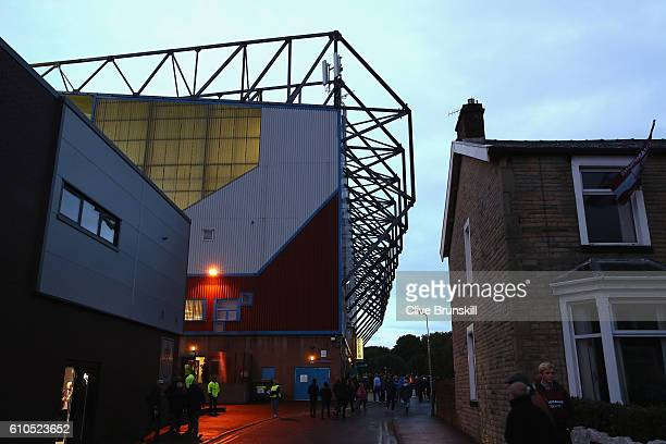 A general view as fans arive outside the stadium prior to the Premier League match between Burnley and Watford at Turf Moor on September 26 2016 in...