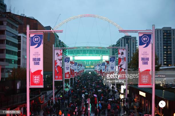 General view as fans arrive at the ground before the International Friendly between England Women and Germany Women at Wembley Stadium on November...