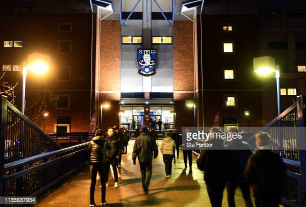General view as fans arrive outside the stadium ahead of the Sky Bet Championship match between Sheffield Wednesday and Sheffield United at...