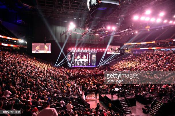 General view as fans await the start of the UFC 264 ceremonial weigh-in at T-Mobile Arena on July 09, 2021 in Las Vegas, Nevada.