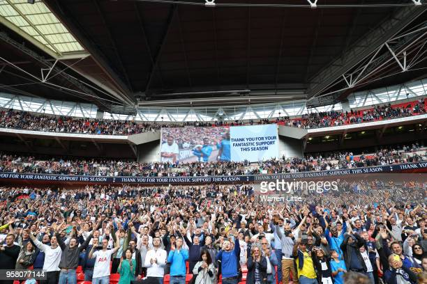 A general view as fans celebrates during the lap of honour during the Premier League match between Tottenham Hotspur and Leicester City at Wembley...