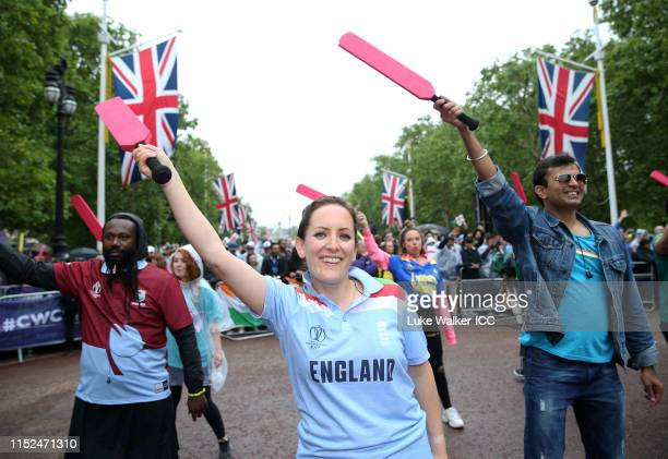 General view as fans dance during the ICC Cricket World Cup 2019 Opening Party at The Mall on May 29 2019 in London England
