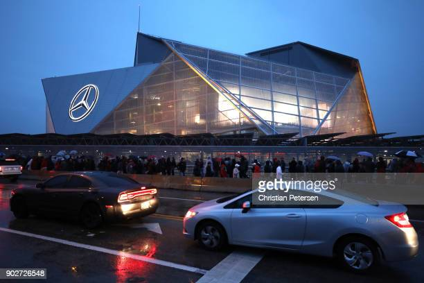 A general view as fans enter the stadium prior to the CFP National Championship presented by ATT at MercedesBenz Stadium on January 8 2018 in Atlanta...