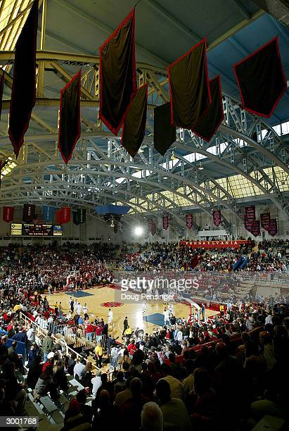 General view as fans file into their seats prior to the Saint Joseph's University Hawks 76-53 defeat of the Temple University Owls during Atlantic 10...