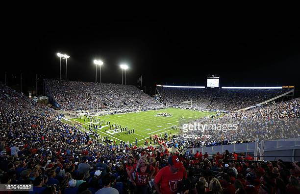 General view as fans fill LaVell Edwards Stadium before the start of a game between the BYU Cougars and the Utah Utes September 21 2013 at LaVell...