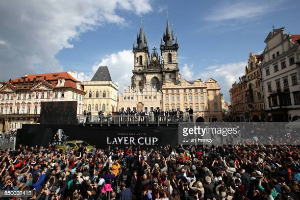 A general view as fans gather in the city centre ahead of the Laver Cup on September 20 2017 in Prague Czech Republic The Laver Cup consists of six...