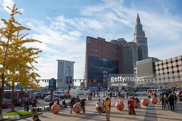 A general view as fans gather outside Quicken Loans Arena before a game between the Cleveland Cavaliers and the New York Knicks on October 30 2014 in...