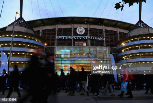 A general view as fans gather outside the ground prior to the UEFA Champions League group F match between Manchester City and SSC Napoli at Etihad...