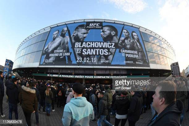 General view as fans gather outside the O2 Arena prior to the UFC Fight Night event on February 23, 2019 in the Prague, Czech Republic.