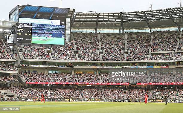 A general view as fans in the crowd enjoy the atmosphere during the Big Bash League match between the Melbourne Stars and Melbourne Renegades at...