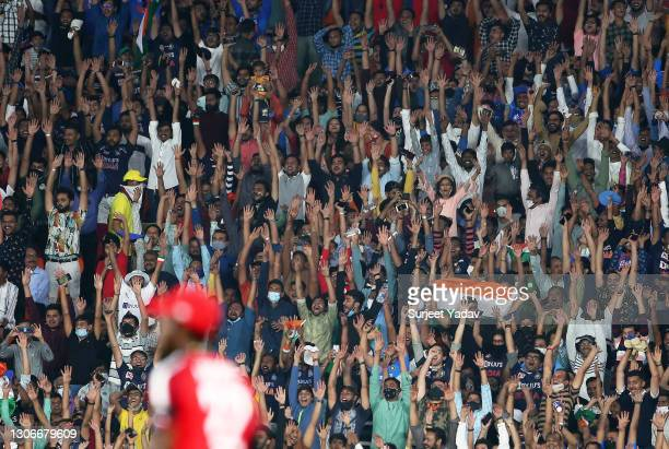 General view as fans interact from the crowd during the 1st T20 International match between India and England at Sardar Patel Stadium on March 12,...