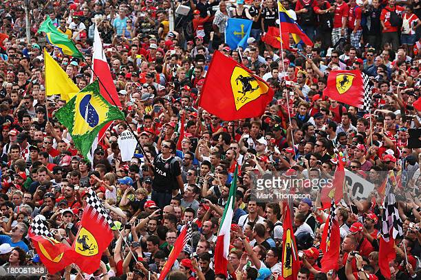 General view as fans invade the track following the Italian Formula One Grand Prix at Autodromo di Monza on September 8 2013 in Monza Italy