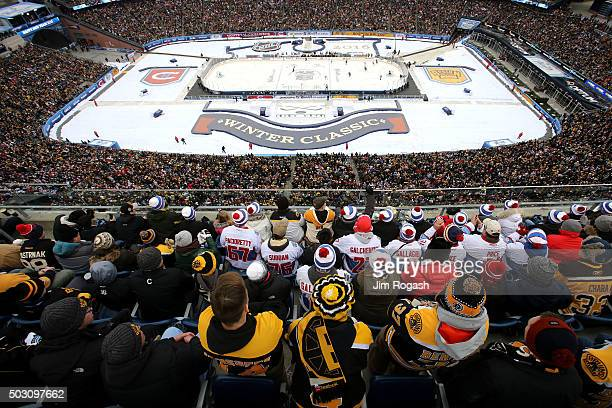 General view as fans look on during the 2016 Bridgestone NHL Winter Classic between the Montreal Canadiens and the Boston Bruins at Gillette Stadium...