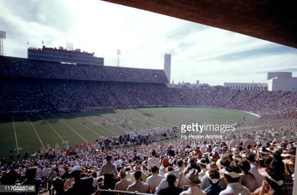 General view as fans look on during the Red River Rivalry between the ranked Oklahoma Sooners and Texas Longhorns on October 8, 1955 at the Cotton...