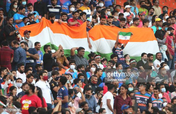 General view as fans of India look on ahead of the 2nd T20 International match between India and England at Narendra Modi Stadium on March 14, 2021...