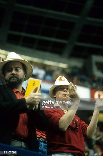 General view as fans of the Calgary Flames clap during an NHL game circa 1986 at the Olympic Saddledome in Calgary, Alberta, Canada.