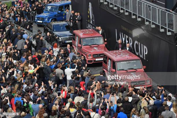 A general view as fans see the teams arrive ahead of the Laver Cup on September 20 2017 in Prague Czech Republic The Laver Cup consists of six...