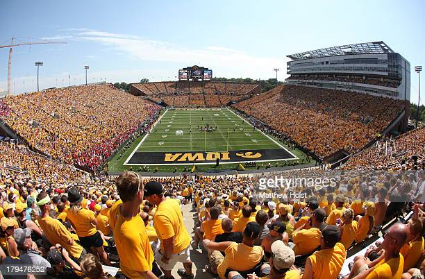 General view as fans settle in to watch the matchup between the Iowa Hawkeyes and the Northern Illinois Huskies during the first quarter on August 31...