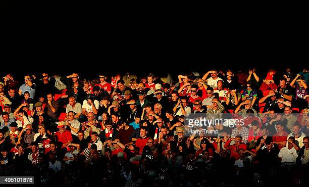 General view as fans shield their eyes during the Sky Bet Championship match between Bristol City and Fulham at Ashton Gate on October 31 2015 in...