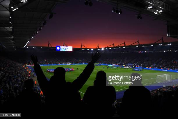 A general view as fans show their support as the sun sets during the Premier League match between Leicester City and Everton FC at The King Power...