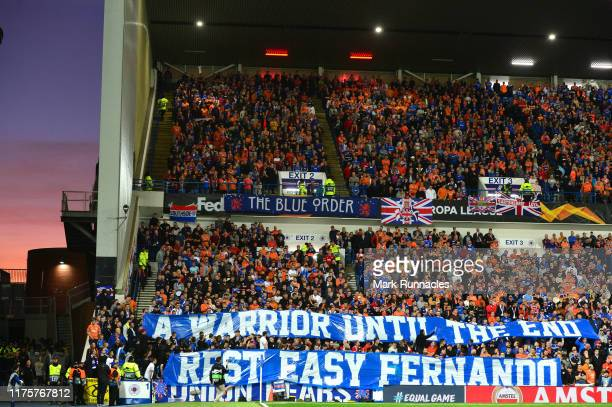 A general view as fans show their support during the UEFA Europa League group G match between Rangers FC and Feyenoord at Ibrox Stadium on September...