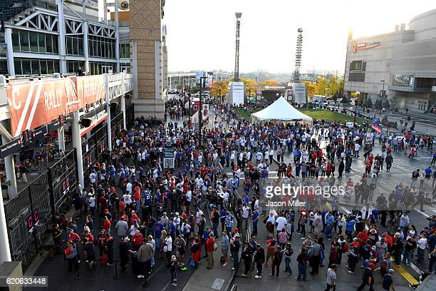 General view as fans wait to enter Progressive Field prior to Game Seven of the 2016 World Series between the Chicago Cubs and the Cleveland Indians...