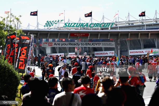 General view as fans walk around the circuit before the Formula One Grand Prix of Japan at Suzuka Circuit on October 7, 2018 in Suzuka.