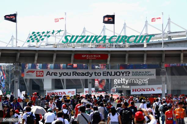 General view as fans walk into the circuit before the Formula One Grand Prix of Japan at Suzuka Circuit on October 7, 2018 in Suzuka.