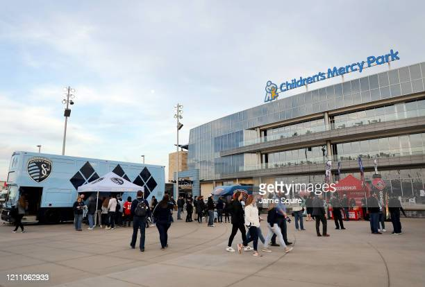 A general view as fans walk outside Children's Mercy Park prior to the game between the Houston Dynamo and Sporting Kansas City at Children's Mercy...