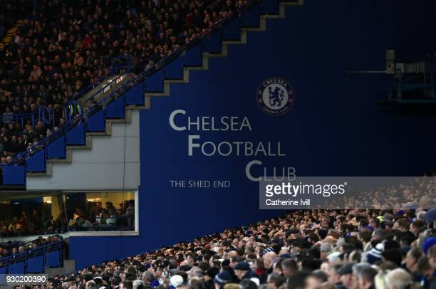 General view as fans watch the match inside the stadium during the Premier League match between Chelsea and Crystal Palace at Stamford Bridge on...